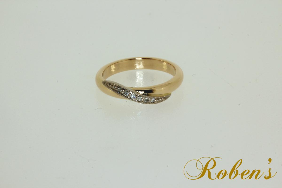 Kelta-valkokultainen timanttisormus